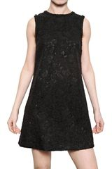 Dolce & Gabbana Mixed Wool Lace A Line Dress - Lyst