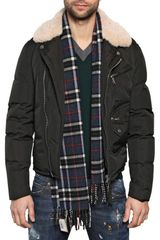 DSquared2 Shearling Matt Nylon Biker Jacket - Lyst