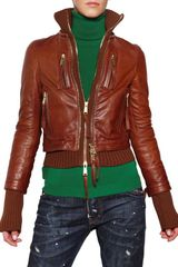 DSquared2 Ribbed Wool Nappa Leather Jacket - Lyst