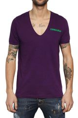 DSquared2 Cotton Linen Dyed Jersey V Neck Tshirt - Lyst