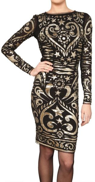Emilio Pucci Embroidered Stretch Silk Georgette Dress - Lyst