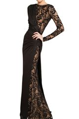 Emilio Pucci Lace and Stretch Wool Jersey Long Dress