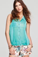 Free People  Sleeveless Button Down Shirt - Lyst