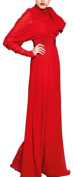 Giambattista Valli Single Sleeve Silk Georgette Long Dress - Lyst