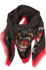 Givenchy Wool Cashmere Gauze Rottweiler Scarf in Black for Men - Lyst