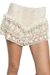 Isabel Marant Ruffled Cotton Lace Shorts - Lyst