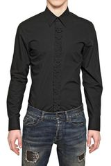 John Richmond Poplin Laser Cut Skull Slim Fit Shirt - Lyst