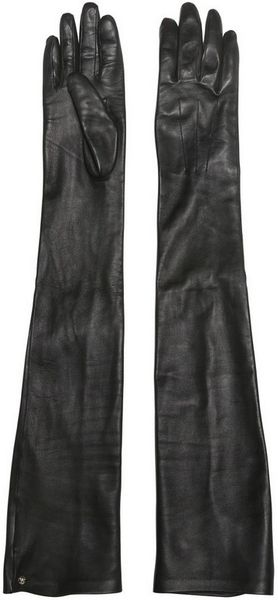 Lanvin Nappa Leather Long Gloves in Black