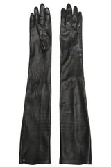 Lanvin Nappa Leather Long Gloves in Black - Lyst