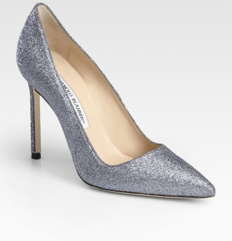 Manolo Blahnik Bb Glittercoated Pumps in Silver (anthracite) - Lyst