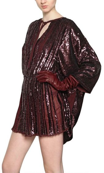 Maurizio Pecoraro Sequined Silk Georgette Dress - Lyst
