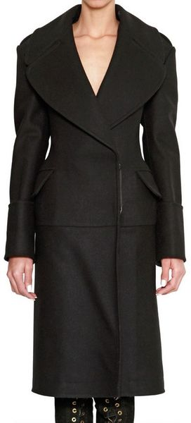 McQ by Alexander McQueen Heavy Felt Wool Long Military Coat - Lyst