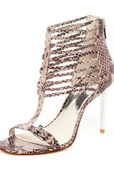 Michael by Michael Kors Molly Python Embossed Leather Cage Sandal  - Lyst