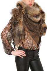 Philipp Plein 03ven Wool Cashmere Shawl with Fox Fur - Lyst