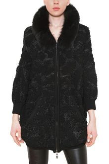 Philipp Plein Fox Fur Skull Lurex Jacquard Knit Coat - Lyst