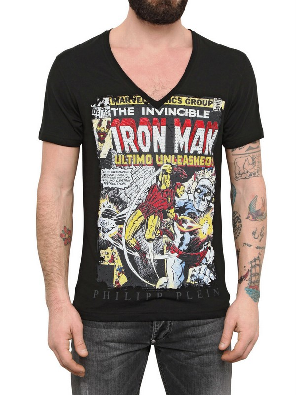 Philipp plein swarovski iron man print jersey tshirt in for Swarovski crystal t shirts