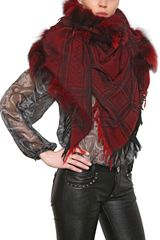 Philipp Plein Woven Wool Cashmere Shawl with Fox Fur - Lyst