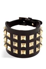 Valentino Black and Gold Studded Bracelet