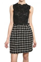 Valentino Cotton Lace Top Wool Tweed Dress - Lyst