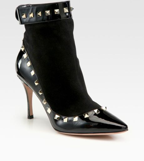 Valentino Rockstud Suede and Patent Leather Ankle Boots in Black - Lyst