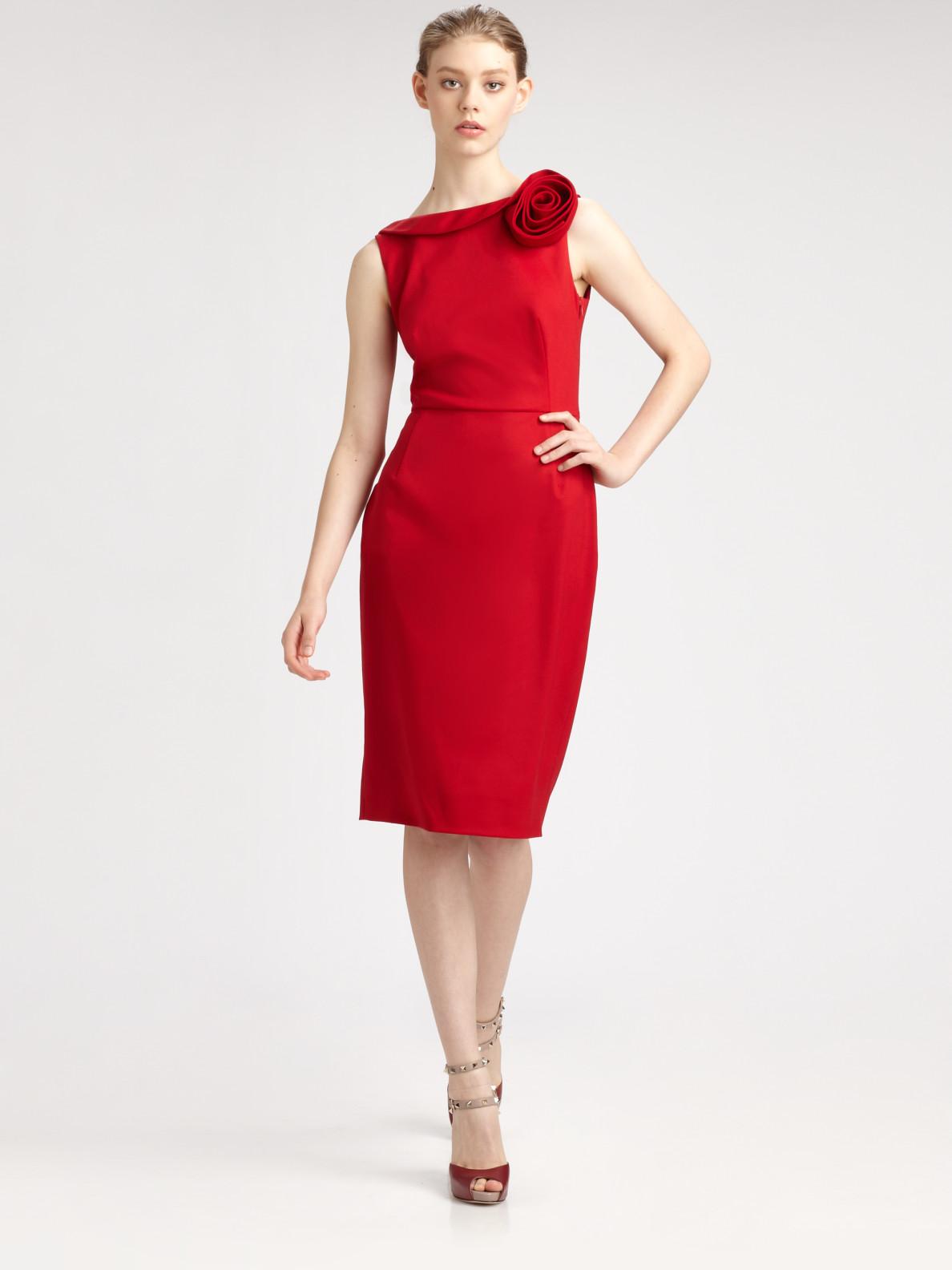 Valentino Rose Shoulder Dress In Red Lyst