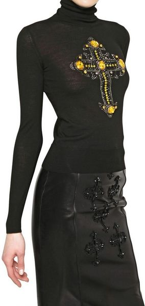 Versace Jewelled Cross Wool Knit Sweater in Black - Lyst