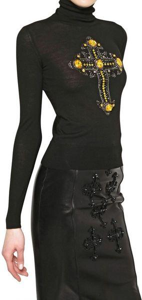 Versace Jewelled Cross Wool Knit Sweater in Black