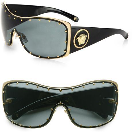 Versace Rock Icon Medusa Studded Shield Sunglasses in Black - Lyst