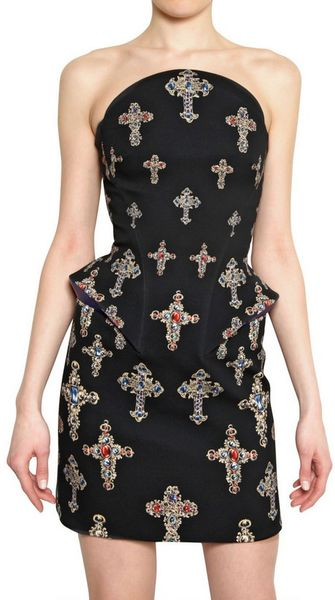 Versace Strapless Cross Stretch Silk Cady Dress in Black - Lyst