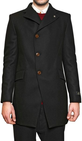 Vivienne Westwood Skull Pin Cashmere Blend Wool Cloth Coat in Black for Men - Lyst