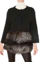 Yves Saint Laurent Fox Trim Wool Mohair Knit Cardigan - Lyst