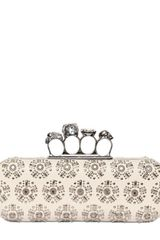 Alexander Mcqueen Studded Leather Knucklebox Clutch in Beige (ivory) - Lyst