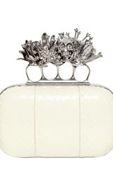 Alexander Mcqueen Whipsnake Short Knucklebox Clutch in Beige (ivory) - Lyst