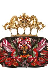 Alexander McQueen Unicorn Skull Flower Appliqué Box Clutch