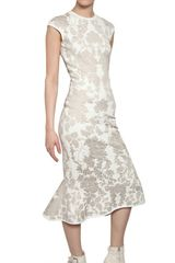 Alexander Mcqueen Wool Rayon Jacquard Peplum Dress in White - Lyst