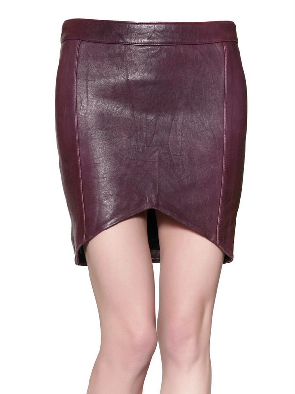 american retro asymmetric leather skirt in bordeaux