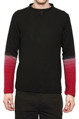 Ann Demeulemeester Two Tone Wool Knit High Neck Sweater - Lyst