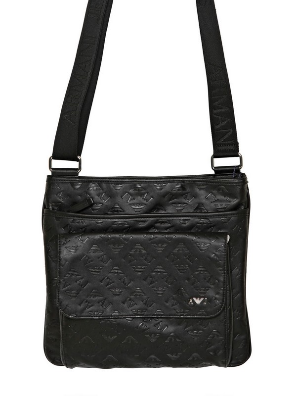 Lyst - Armani Jeans All Over Logo Eco Leather Bag in Black for Men ffa76ac820101