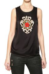 Balmain Embroidered Silk Satin Top - Lyst