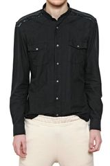 Balmain Raw Cut Cotton Canvas Military Shirt - Lyst