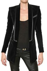 Balmain Silk Satin Trim Velvet Jacket - Lyst