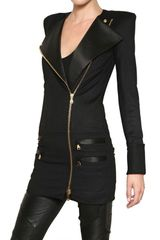 Balmain Silk Satin Trim Wool Cloth Coat in Black - Lyst