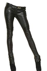 Balmain Soft Nappa Leather Biker Trousers - Lyst
