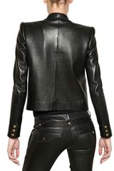 Balmain Soft Nappa Tuxedo Leather Jacket in Black - Lyst