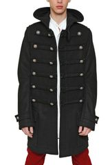 Balmain Wool Felt Hooded Duffle Coat - Lyst