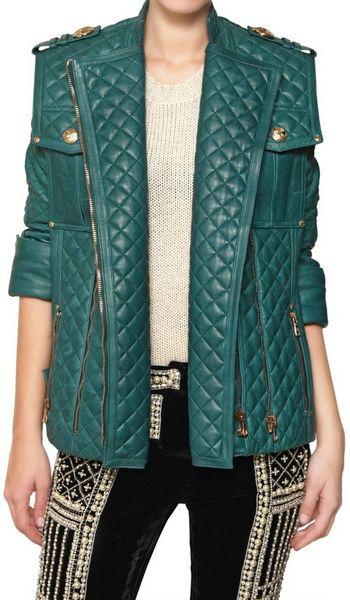 Balmain Quilted Oversize Nappa Leather Jacket in Green (forest) - Lyst
