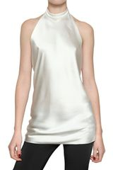 Balmain Halter Neck Silk Satin Top - Lyst