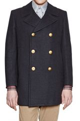 Band Of Outsiders Wool Cloth Pea Coat - Lyst