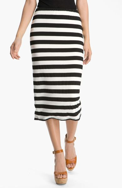 bobeau stripe midi skirt in white black white stripe lyst