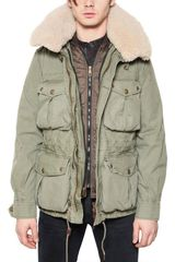 Burberry Brit Washed Canvas Fur Collar Parka Jacket - Lyst